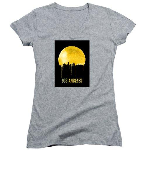 Los Angeles Skyline Yellow Women's V-Neck T-Shirt (Junior Cut) by Naxart Studio