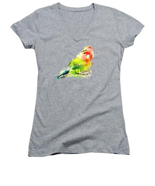 Lovebird Watercolor Painting Women's V-Neck T-Shirt (Junior Cut) by Justyna JBJart