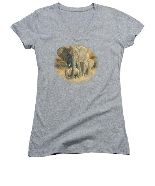 Loving Mother Women's V-Neck T-Shirt (Junior Cut) by Lucie Bilodeau