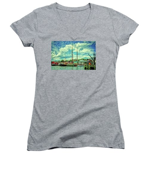 Women's V-Neck T-Shirt (Junior Cut) featuring the photograph Lunenburg Harbor by Rodney Campbell