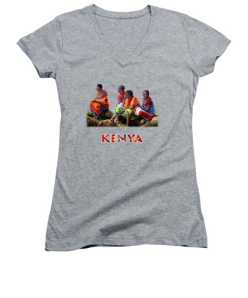 Maasai Women Women's V-Neck T-Shirt (Junior Cut) by Anthony Mwangi