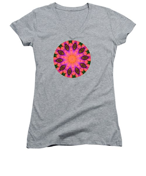 Mandala Salmon Burst - Prints With Salmon Color Background Women's V-Neck T-Shirt (Junior Cut) by Hao Aiken