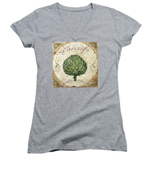 Mangia Artichoke Women's V-Neck T-Shirt (Junior Cut) by Mindy Sommers