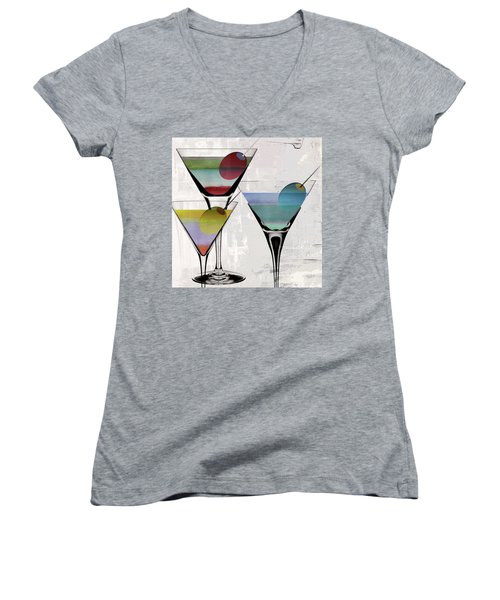 Martini Prism Women's V-Neck T-Shirt (Junior Cut) by Mindy Sommers
