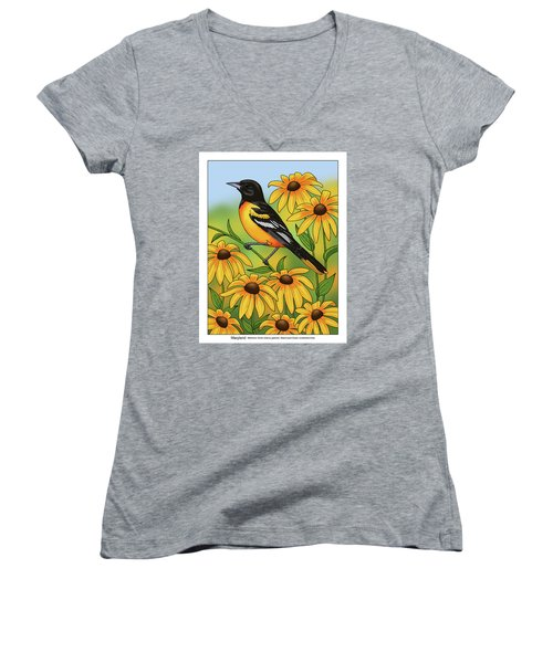 Maryland State Bird Oriole And Daisy Flower Women's V-Neck T-Shirt (Junior Cut) by Crista Forest