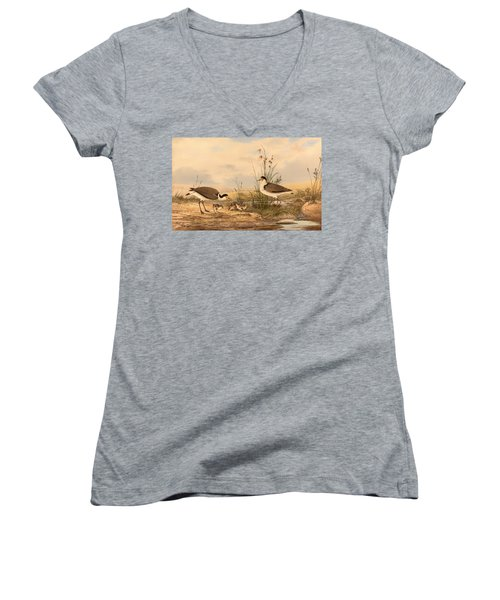 Masked Lapwing Women's V-Neck T-Shirt (Junior Cut) by Mountain Dreams