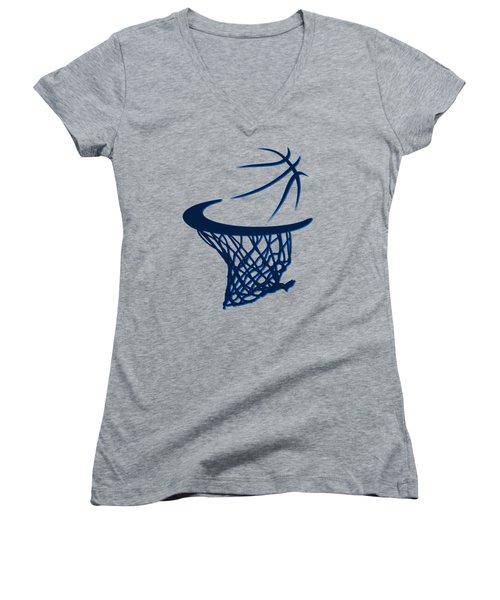 Mavericks Basketball Hoops Women's V-Neck T-Shirt (Junior Cut) by Joe Hamilton