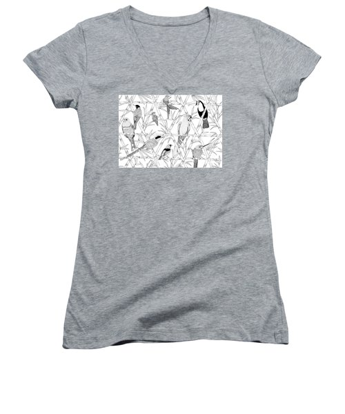 Menagerie Black And White Women's V-Neck T-Shirt (Junior Cut) by Jacqueline Colley