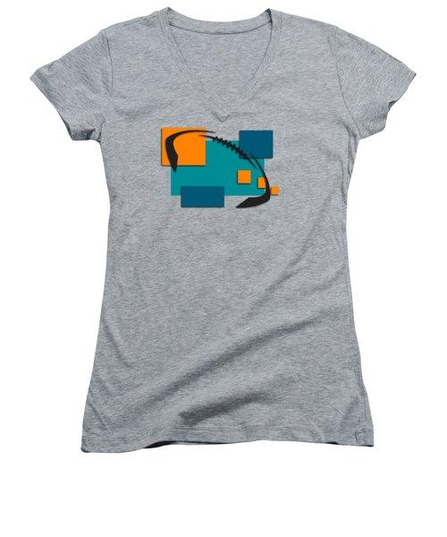 Miami Dolphins Abstract Shirt Women's V-Neck T-Shirt (Junior Cut) by Joe Hamilton