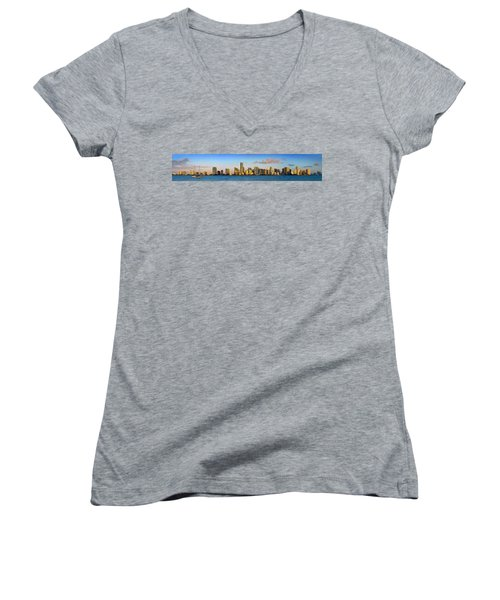Miami Skyline In Morning Daytime Panorama Women's V-Neck T-Shirt (Junior Cut) by Jon Holiday