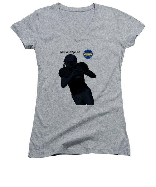 Michigan Football  Women's V-Neck T-Shirt (Junior Cut) by David Dehner