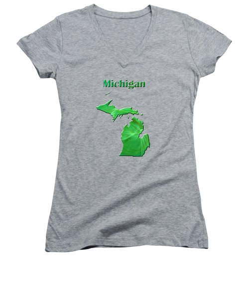 Michigan Map Women's V-Neck T-Shirt (Junior Cut) by Roger Wedegis