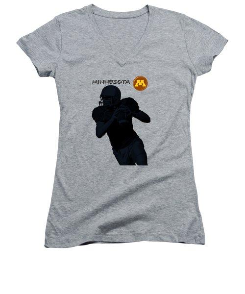 Minnesota Football Women's V-Neck T-Shirt (Junior Cut) by David Dehner