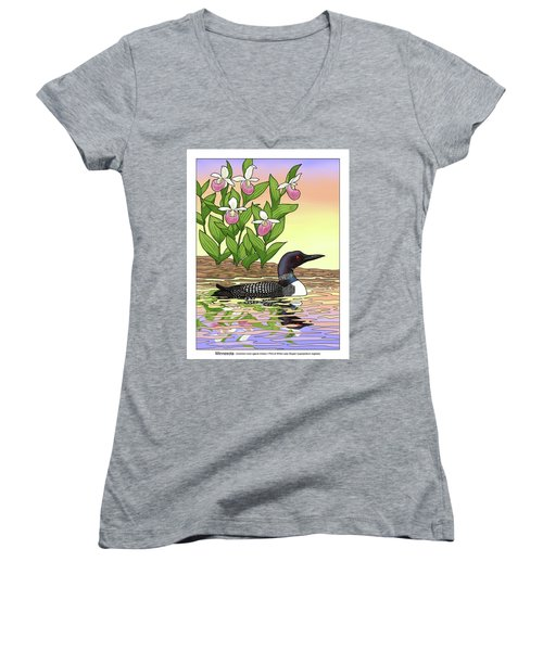 Minnesota State Bird Loon And Flower Ladyslipper Women's V-Neck T-Shirt (Junior Cut) by Crista Forest