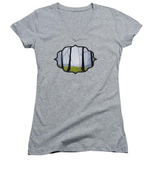 Misty Forest Women's V-Neck T-Shirt (Junior Cut) by Anastasiya Malakhova