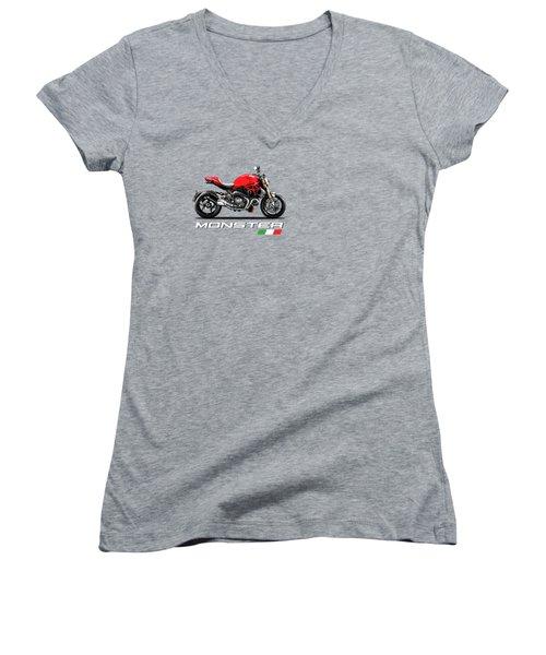 Monster 1200 Women's V-Neck T-Shirt (Junior Cut) by Mark Rogan