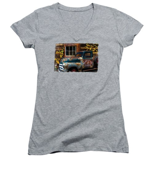 Moonshine Express Bordered Women's V-Neck T-Shirt (Junior Cut) by Debra and Dave Vanderlaan