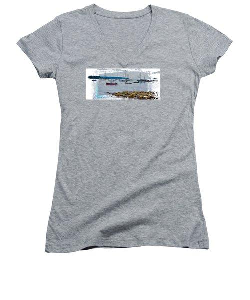 Moorings Mug Shot Women's V-Neck T-Shirt (Junior Cut) by John M Bailey