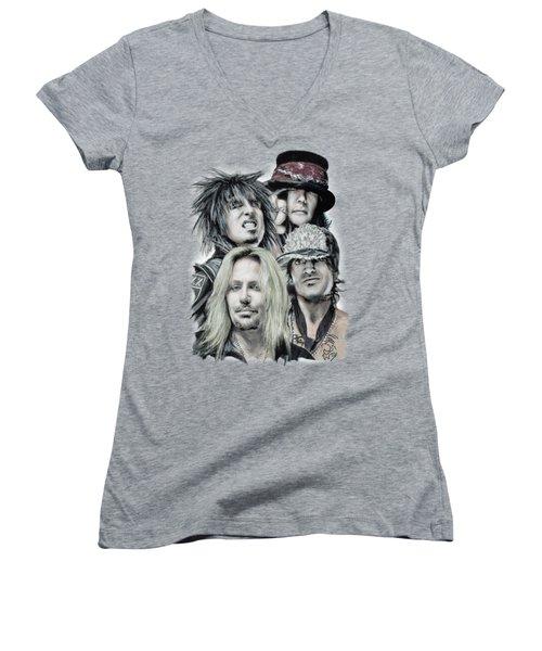 Motley Crue Women's V-Neck T-Shirt (Junior Cut) by Melanie D