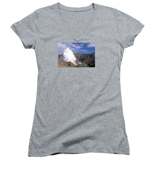 Women's V-Neck T-Shirt (Junior Cut) featuring the photograph Mount Aso by Travel Pics