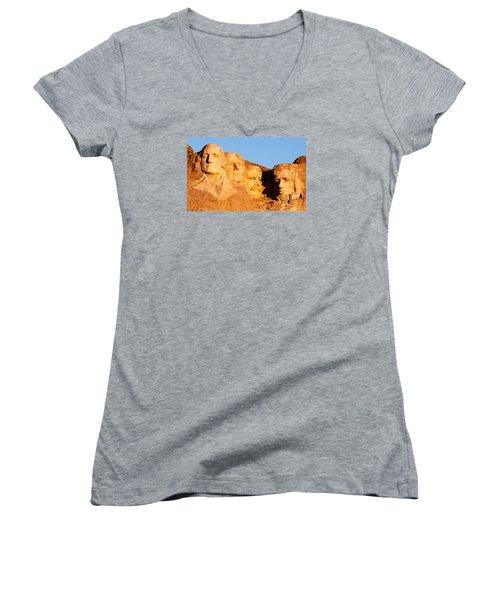 Mount Rushmore Women's V-Neck T-Shirt (Junior Cut) by Todd Klassy