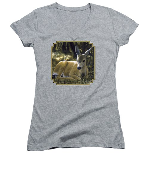 Mule Deer Fawn - A Quiet Place Women's V-Neck T-Shirt (Junior Cut) by Crista Forest