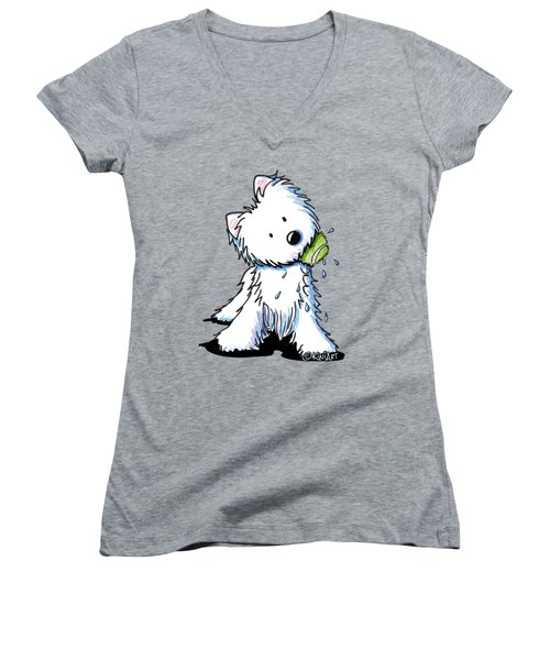 My Ball My Rules Women's V-Neck T-Shirt (Junior Cut) by Kim Niles