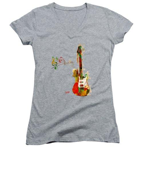 My Guitar Can Sing Women's V-Neck T-Shirt (Junior Cut) by Nikki Smith