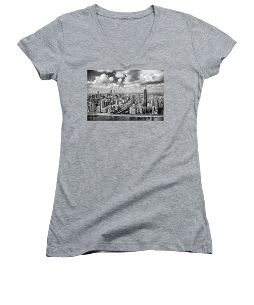 Near North Side And Gold Coast Black And White Women's V-Neck T-Shirt (Junior Cut) by Adam Romanowicz
