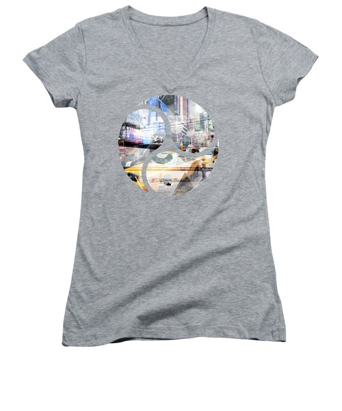 New York City Geometric Mix No. 9 Women's V-Neck T-Shirt (Junior Cut) by Melanie Viola