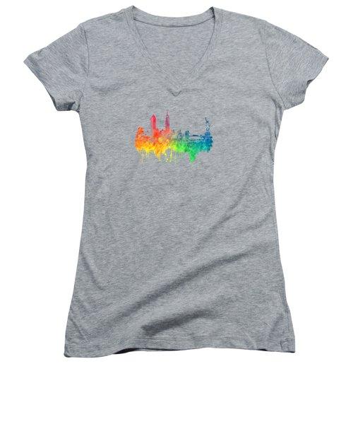 New York City Skyline Color Women's V-Neck T-Shirt (Junior Cut) by Justyna JBJart