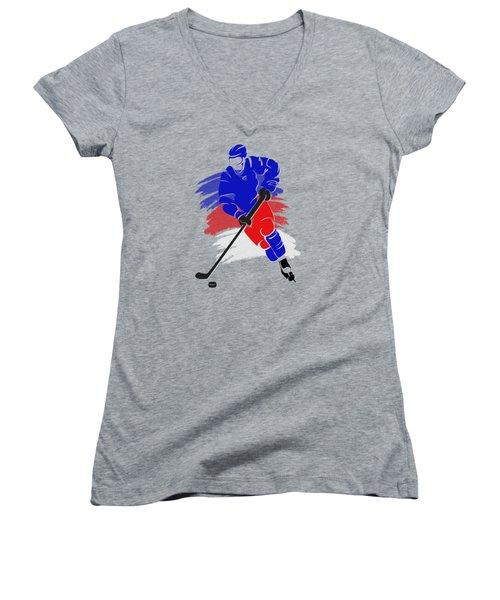 New York Rangers Player Shirt Women's V-Neck T-Shirt (Junior Cut) by Joe Hamilton
