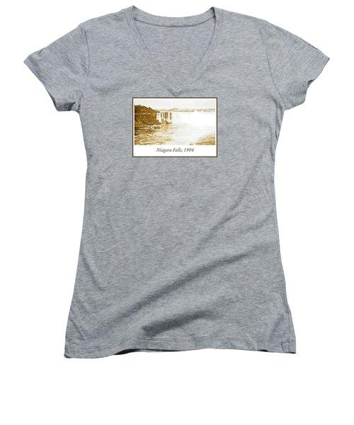 Women's V-Neck T-Shirt (Junior Cut) featuring the photograph Niagara Falls Ferry Boat 1904 Vintage Photograph by A Gurmankin