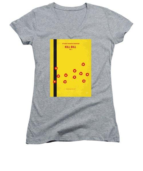 No048 My Kill Bill -part 1 Minimal Movie Poster Women's V-Neck T-Shirt (Junior Cut) by Chungkong Art