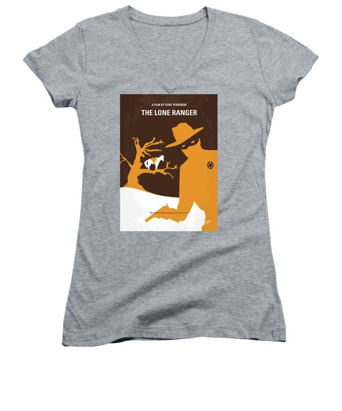 No202 My The Lone Ranger Minimal Movie Poster Women's V-Neck T-Shirt (Junior Cut) by Chungkong Art