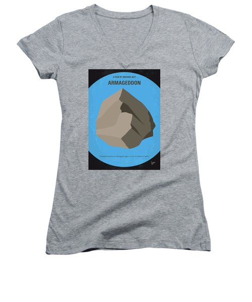 No695 My Armageddon Minimal Movie Poster Women's V-Neck T-Shirt (Junior Cut) by Chungkong Art