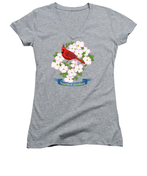 North Carolina State Bird And Flower Women's V-Neck T-Shirt (Junior Cut) by Crista Forest