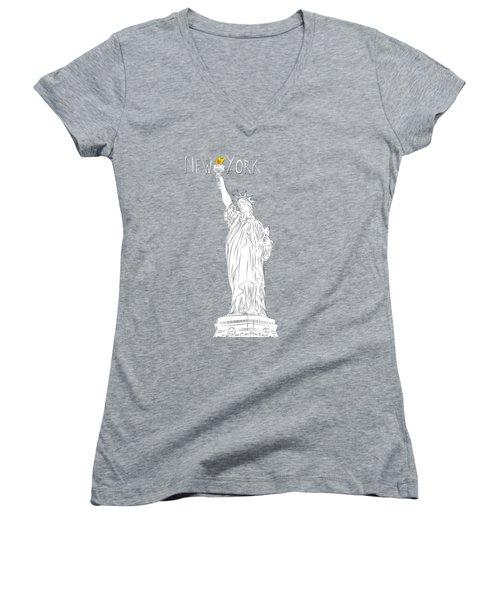 Ny Statue Of Liberty Line Art Women's V-Neck T-Shirt (Junior Cut) by BONB Creative