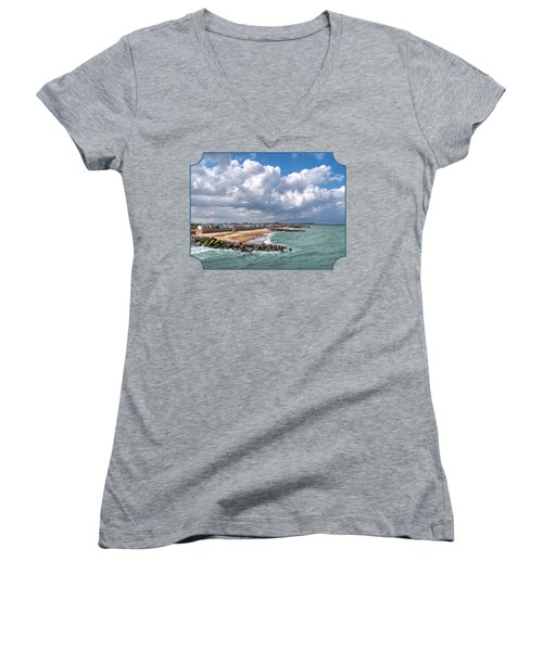 Ocean View - Colorful Beach Huts Women's V-Neck T-Shirt (Junior Cut) by Gill Billington