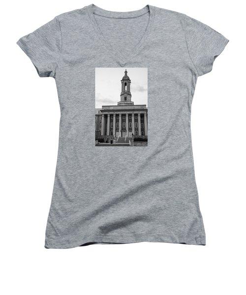 Old Main Penn State Black And White Women's V-Neck T-Shirt (Junior Cut) by John McGraw