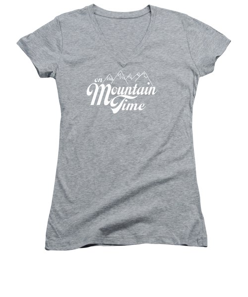On Mountain Time Women's V-Neck T-Shirt (Junior Cut) by Heather Applegate