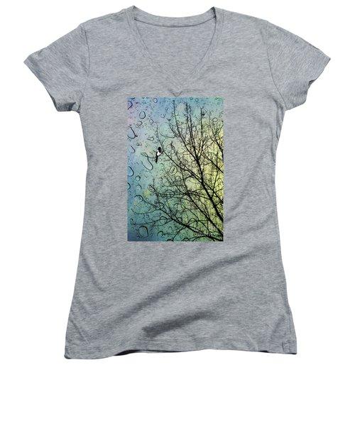 One For Sorrow Women's V-Neck T-Shirt (Junior Cut) by John Edwards