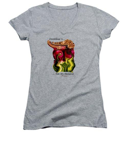 Onionhead Transparency Women's V-Neck T-Shirt (Junior Cut) by Robert Woodward