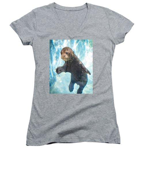 Otter Cuteness Women's V-Neck T-Shirt (Junior Cut) by Jamie Pham