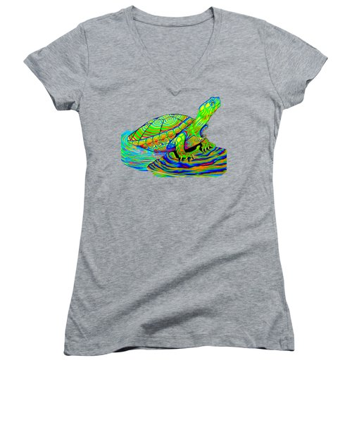 Painted Turtle Women's V-Neck T-Shirt (Junior Cut) by Rebecca Wang