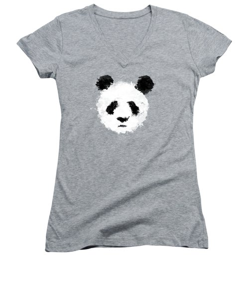 Panda Women's V-Neck T-Shirt (Junior Cut) by Mark Rogan