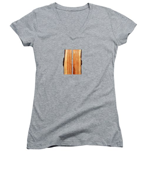 Parallel Wood Women's V-Neck T-Shirt (Junior Cut) by YoPedro