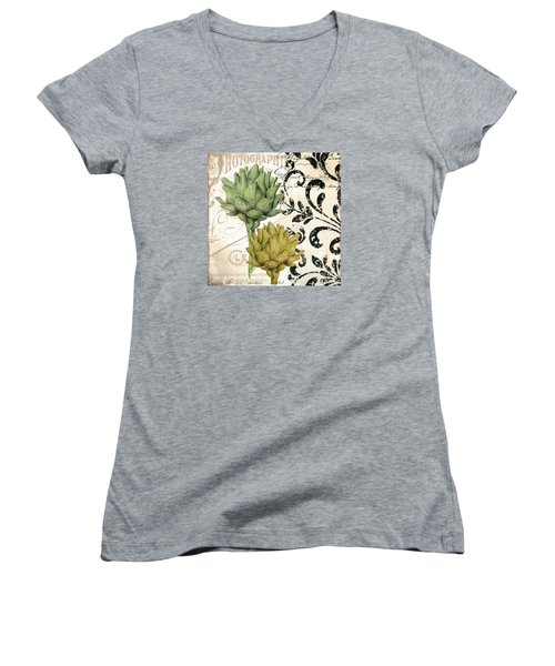 Paris Artichokes Women's V-Neck T-Shirt (Junior Cut) by Mindy Sommers
