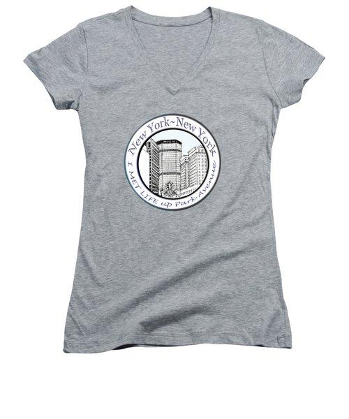 I Met Life Up Park Avenue Nyc Women's V-Neck T-Shirt (Junior Cut) by James Lewis Hamilton