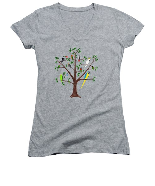 Parrot Tree Women's V-Neck T-Shirt (Junior Cut) by Rita Palmer